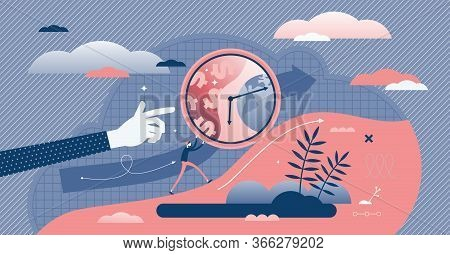 Uphill Vector Illustration. Business Challenge Flat Tiny Persons Concept. Abstract Scene With Pushin