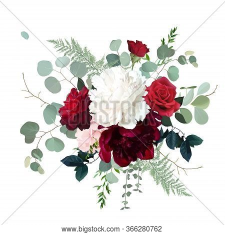 Classic Red Roses, White And Burgundy Peony, Pink Hydrangea, Eucalyptus, Fern, Greenery Wedding Desi