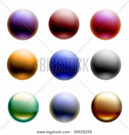Nine Colorful 3d Orbs