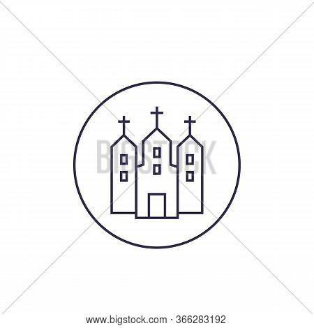 Catholic Church, Line Icon, Eps 10 File, Easy To Edit