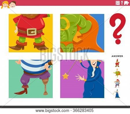Cartoon Illustration Of Educational Game Of Guessing Fantasy Characters Worksheet Or Application For