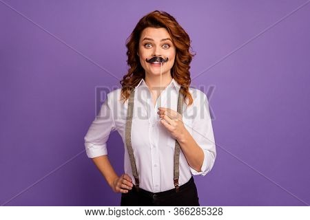 Photo Of Lucky Dealer Lady Casino Croupier Worker Hold Fake Mustache Stick Help Clients Find Empty T