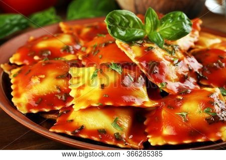 Ravioli With Tomato Sauce And Basil. Fresh Homemade Ravioli