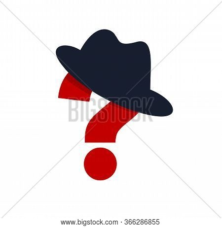 Incognito Vector Concept Question Mark With Hat Like A Spy, Criminal Hiding His Person, Against Law