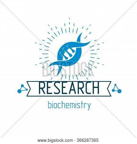 Vector Model Of Human Dna, Double Helix. Bioengineering And Genetics Conceptual Vector Logo, Laborat