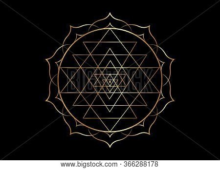 Gold Mystical Mandala Of Sri Yantra For Your Design. Golden Sacred Geometry And Alchemy Symbol Bloom
