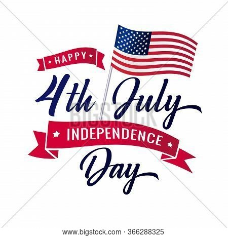 United States Of America 4th July Independence Day Logo Badge Or Banner. Fourth July Independence Da