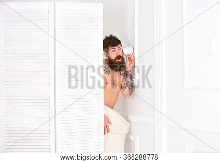 Hipster Naked On Stunned Face Secretly Listen Conversation. Lovers And Cheating Concept. Man In Whit