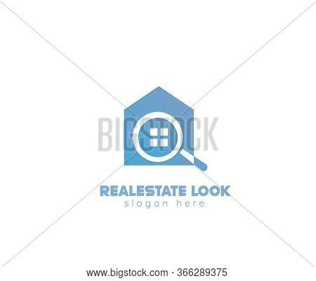 Realestate Search Logo Design - White Background Illustartion Design