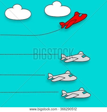 Red airplane taking different route, dare to be different concept