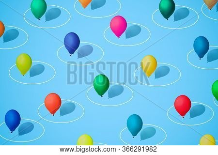 Multicolored Balloons As A Symbol Of Heterogeneity Of Society In A White Circle As A Symbol Of Perso