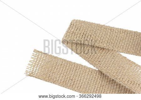 Burlap Fabric Wide Rustic Ribbon, Sackcloth Piece Of Linen Jute, Sack Cloth Tag Isolated On White Ba