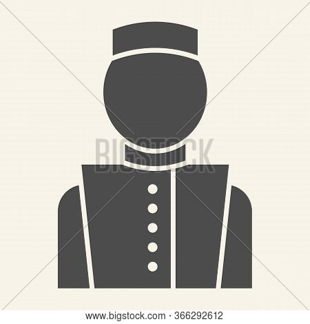 Concierge Solid Icon. Hotel Porter Symbol, Glyph Style Pictogram On Beige Background. Bellboy In Uni