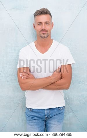 Quality Clothing Made To Last. Style And Versatility Of Quality Tshirt. Summer Fashion. Mature Man C