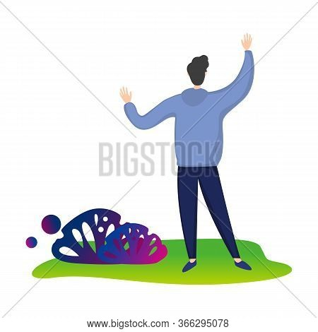 Smiling Young Man Running With Arms Outstretched, Happy Positive Person Rejoicing Vector Illustratio