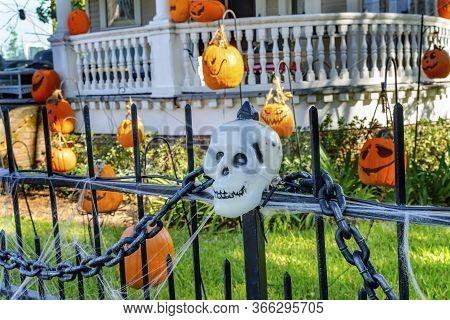Halloween Pumpkins Decorations Black Iron Gate Fence Garden District New Orleans Louisiana. National