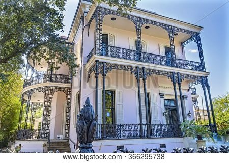 New Orleans, Louisiana, United States - October 6, 2019 Wrought Iron Gate Fence Decorations Colonel
