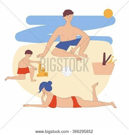 Family Resting On A Picnic On The Beach. Mom And Dad Play With Their Children By The Sea. Parents Wi