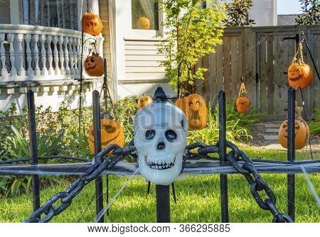 New Orleans, Louisiana, United States - October 6, 2019 Halloween Pumpkins Decorations Black Iron Ga