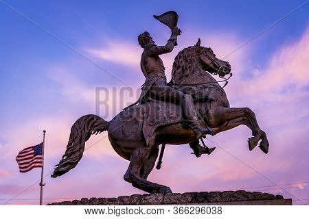 Us Flag Andrew Jackson Statue Square Pink Sunset New Oreleans Louisiana Statue Erected 1856 From Sam