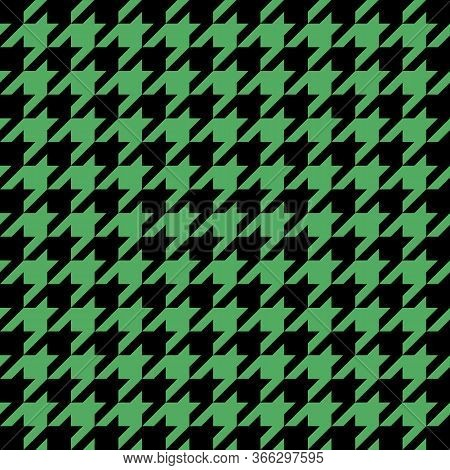 Goose Foot. Pattern Of Crows Feet In Black And Green Cage. Glen Plaid. Houndstooth Tartan Tweed. Dog