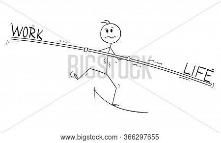 Cartoon Stick Figure Drawing Conceptual Illustration Of Man Or Businessman Tightrope Walker Walking