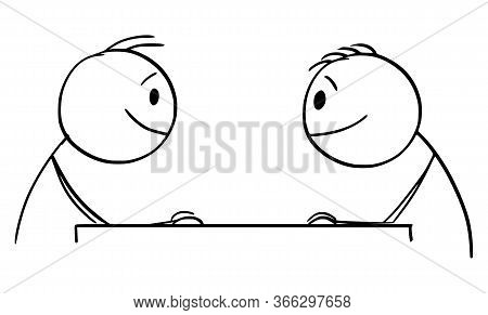 Cartoon Stick Figure Drawing Conceptual Illustration Of Two Smiling Men Or Businessmen Sitting At Ta