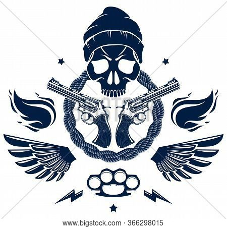 Anarchy And Chaos Aggressive Emblem Or Logo With Wicked Skull, Weapons And Different Design Elements