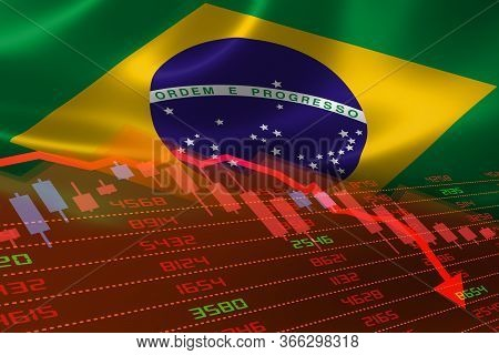 3d Rendering Of Brazil Economic Downturn With Stock Exchange Market Showing Stock Chart Down And In