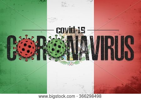 Flag Of Mexico With Coronavirus Covid-19. Virus Cells Coronavirus Bacteriums Against Background Of T