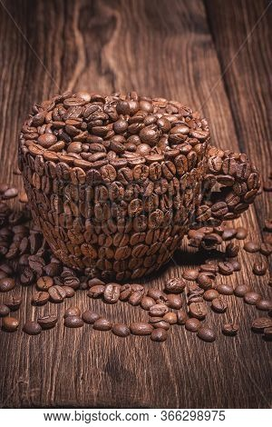 Coffee Cup Table Tree Coffee Grain Vertical. Background For Coffee Beans In Dark Colors For The Phon