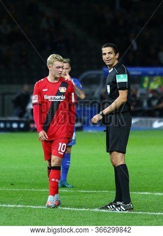 Berlin, Germany - September 20, 2017: Fifa Referee Deniz Aytekin (r) Smiles During The German Bundes