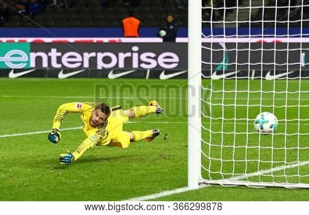 Berlin, Germany - September 20, 2017: Goalkeeper Rune Jarstein Of Hertha Bsc Berlin Misses A Goal Du