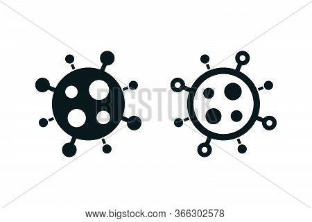 Novel Coronavirus Covid-19 Minimal Icons. Filled And Outlined Badges On White Background.