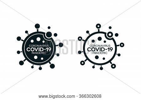 Covid-19 Lettering Infection Icons On White Background. Shapes Indicate That Coronavirus Enters Huma