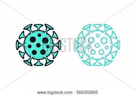 Covid-19 Spotted Icons. Novel Coronavirus Filled And Outlined Virus Symbols On White Background.
