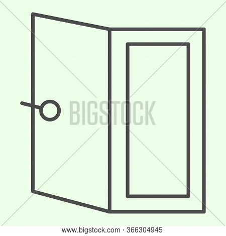 Door Thin Line Icon. Open Home Doorway Exit Or Entrance Outline Style Pictogram On White Background.