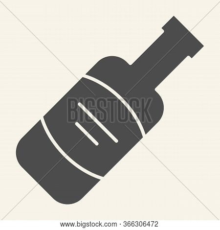Wine Bottle Solid Icon. Alcohol Beverage Symbol, Glyph Style Pictogram On Beige Background. Merlot O