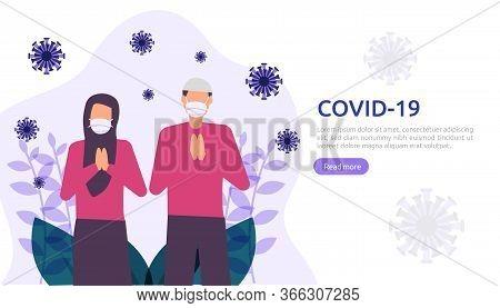 People Uses Masker Fight Pandemi Covid-19 Corona Virus On Ramadan Illustration Concept. Web Landing