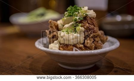 Chicken Karaage With Mayonnaise Is A Japanese Cooking Technique Of Deep Fried.