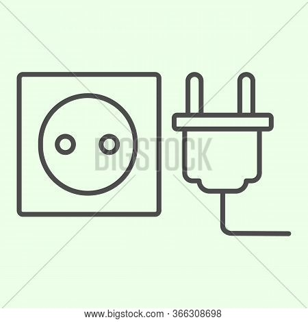 Socket With Plug Thin Line Icon. Unplugged Cable From Jack Socket Outline Style Pictogram On White B