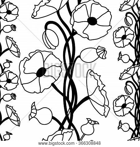 Floral Decorative Pattern. Maquis. Seamless Pattern On A White Isolated Background
