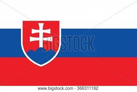 Slovakia Flag Vector Graphic. Rectangle Slovak Flag Illustration. Slovakia Country Flag Is A Symbol