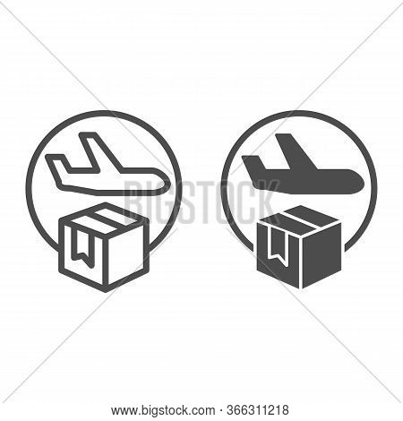 Airmail And Cardboard Package Line And Solid Icon, Delivery And Logistic Symbol, Air Freight Carrier