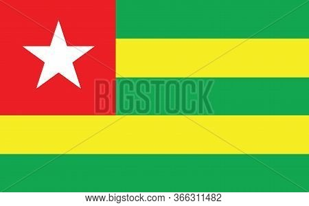 Togo Flag Vector Graphic. Rectangle Togolese Flag Illustration. Togo Country Flag Is A Symbol Of Fre