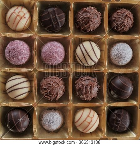 Chocolate Candy Set. Round Chocolate And Fruit Truffles. Box Of Chocolates Close-up .assorted Chocol