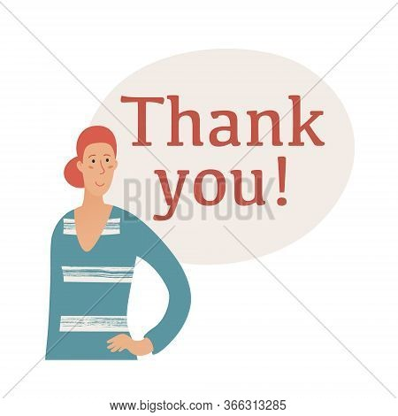 Banner Template With Thank You Text, Lettering And Shoulder Portrait Of Pretty Woman Wearing Striped