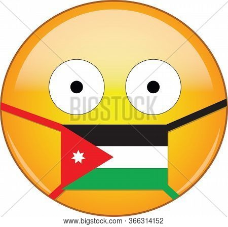 Yellow Scared Emoji In Jordanian Medical Mask Protecting From Sars, Coronavirus, Bird Flu And Other