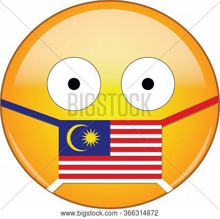 Yellow Scared Emoji In Malaysian Medical Mask Protecting From Sars, Coronavirus, Bird Flu And Other