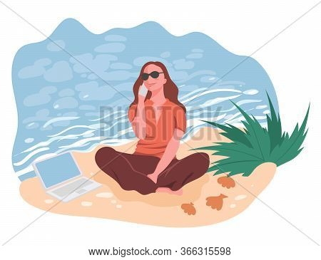 Girl Sitting With Smartphone In Hand And Laptop On Beach Near Sea, Vector Illustration. Work Remotel